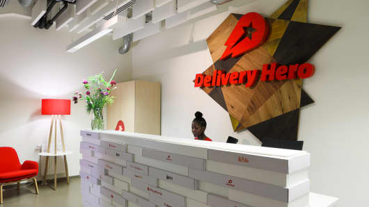 The front desk at Delivery Hero's headquarters in Berlin, Germany.
