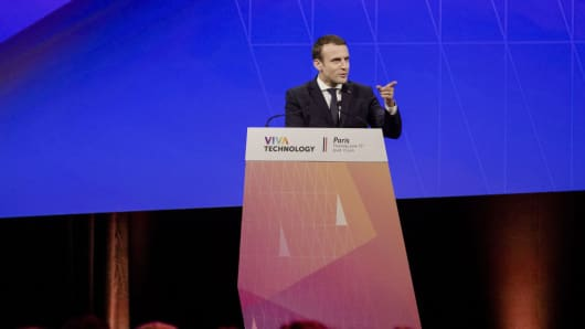 Emmanuel Macron, France's president, speaks on stage at the Viva Technology conference in Paris, France, on Thursday, June 15, 2017.