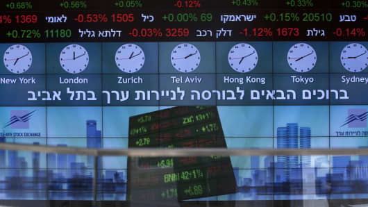 A stock market ticker displays financial information and world time zones in the lobby of the Tel Aviv Stock Exchange (TASE) in Tel Aviv, Israel