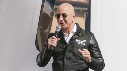 Jeff Bezos, chief executive officer of Amazon.com and founder of Blue Origin LLC, speaks at the unveiling of the Blue Origin New Shepard system during the Space Symposium in Colorado Springs, Colorado, April 5, 2017.