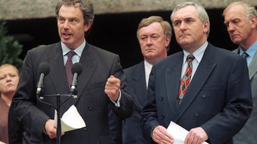 British Prime Minister Tony Blair And His Irish Counterpart Bertie Ahern Present A Joint British-Irish Blueprint For Implementation Of The Good Friday Agreement At Stormont Castle In Belfast June 2, 1999.