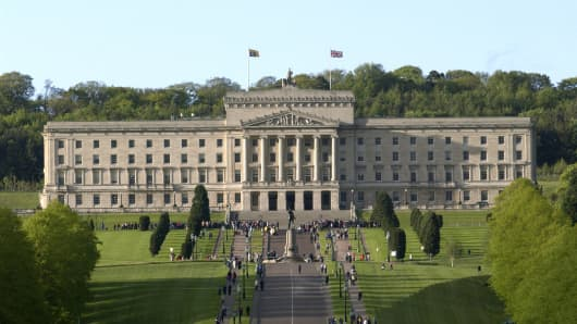 The Stormont Parliament Building Flying The Queen's Royal Standard Flag To Signify Her Presence There