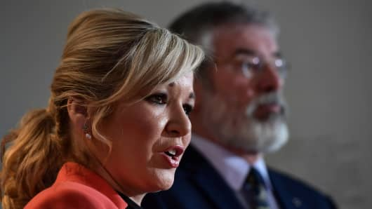 Sinn Fein Northern leader Michelle O'Neill (L) and Sinn Fein President Gerry Adams (R)