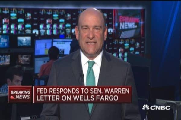Fed responds to Sen. Warren letter on Wells Fargo