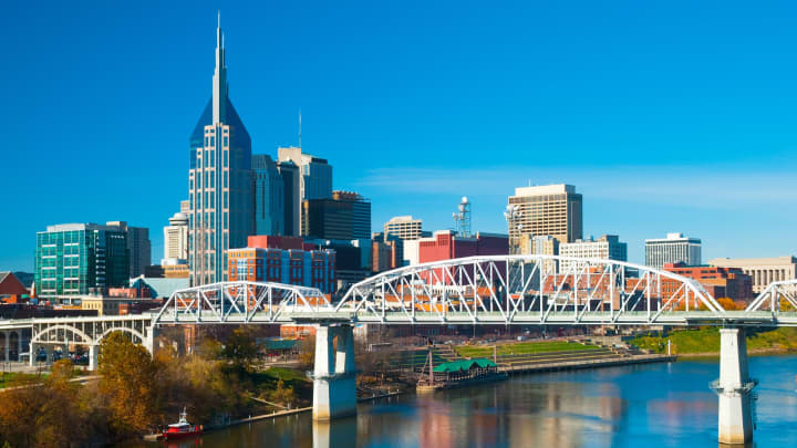 Downtown Nashville skyline with the Shelby Street bridge and the Cumberland River.