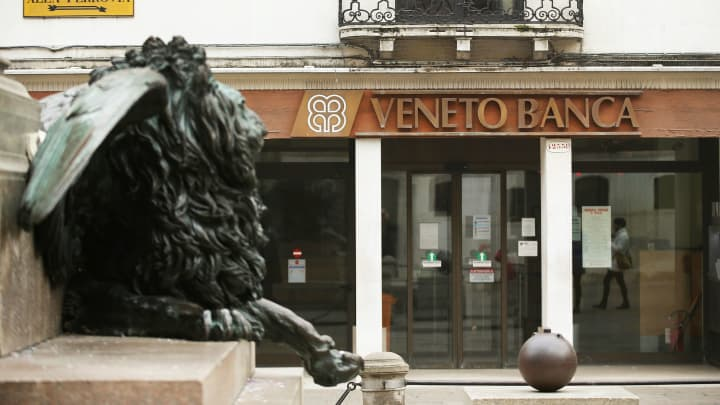 A Veneto Banca branch in Venice, Italy.