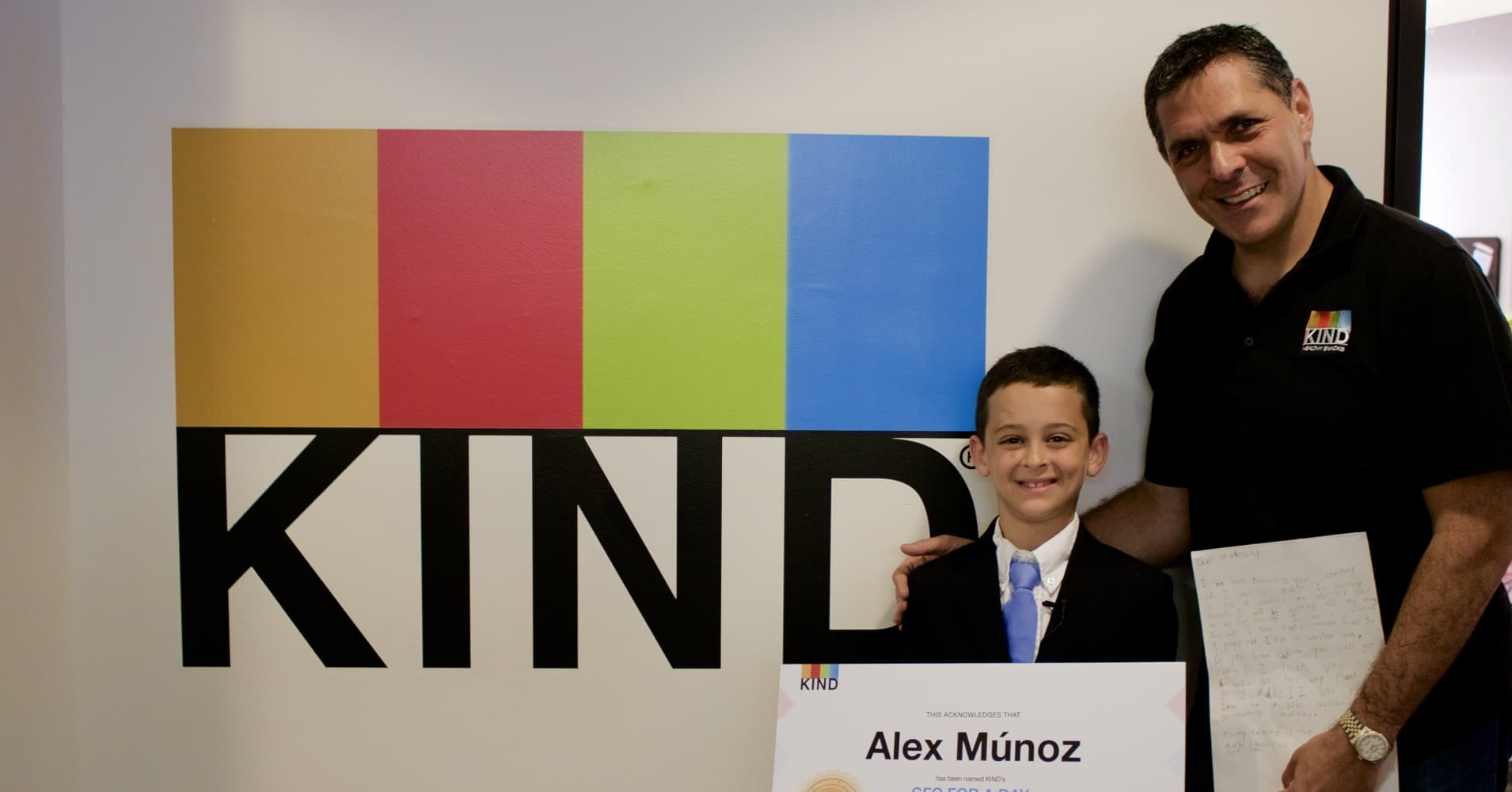 KIND CEO and founder Daniel Lubetzky with Alex Munoz, the 9 year old who wrote him a letter.