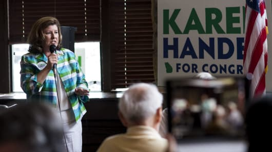 Republican candidate for Georgia's 6th Congressional district Karen Handel speaks to supporters at the Cherokee Cattle Ranch restaurant in Marietta, Ga., on the final day of campaigning on Monday, June 19, 2017.