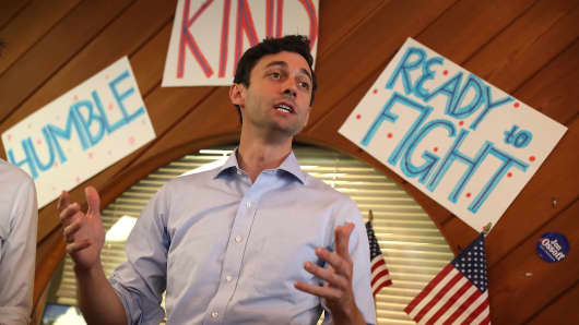 Democratic candidate Jon Ossoff speaks during a visit to a campaign office to thank volunteers and supporters as he runs for Georgia's 6th Congressional District on June 19, 2017 in Sandy Springs, Georgia.