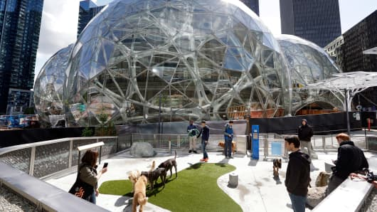 Amazon employees tend to their dogs in a canine play area adjacent to where construction continues on three large, glass-covered domes as part of an expansion of the Amazon.com campus.