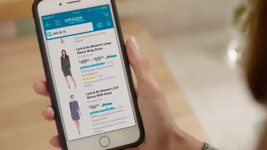 Amazon Prime Wardrobe on a smartphone.