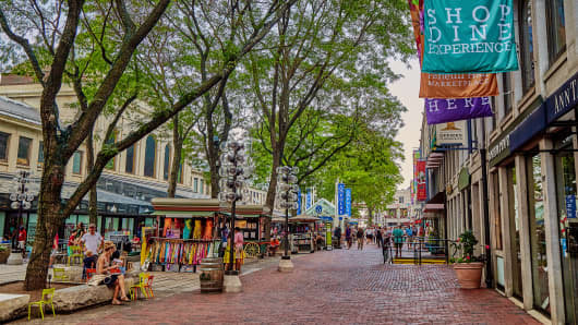 Shopping streets in Boston, MA.