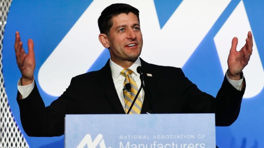 House Speaker Paul Ryan of Wis., speaks during the National Association of Manufacturers (NAM) 2017 Manufacturing Summit in Washington, Tuesday, June 20, 2017.