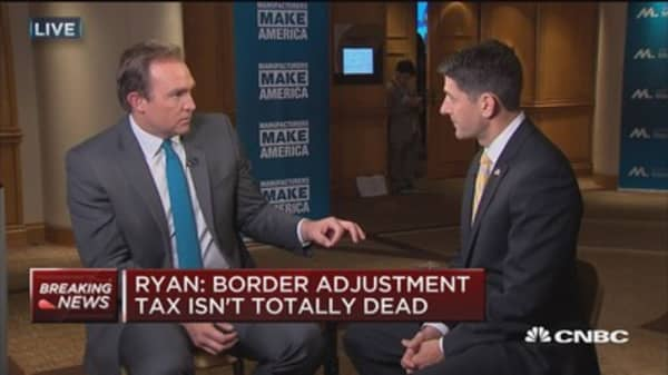 Ryan: Border adjustment tax isn't totally dead