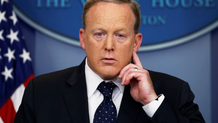 White House Press Secretary Sean Spicer listens to a reporter's question during his daily briefing at the White House in Washington, U.S., June 20, 2017. White House Press Secretary Sean Spicer listens to a reporter's question during his daily briefing at the White House in Washington, U.S., June 20, 2017.