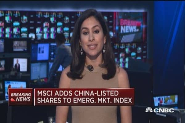 MSCI adds China-listed shared to emerging market index