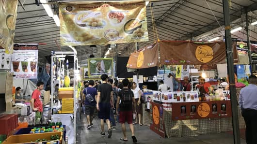 June 2017: A view of Singapore's Geylang Serai neighborhood Ramadan bazaar.