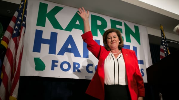 Georgia's 6th Congressional district Republican candidate Karen Handel gives a victory speech to supporters gathered at the Hyatt Regency at Villa Christina on June 20, 2017 in Atlanta, Georgia.