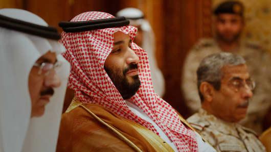 Saudi Arabia's Deputy Crown Prince Mohammed bin Salman (2nd L) on April 19, 2017 in Riyadh, Saudi Arabia.