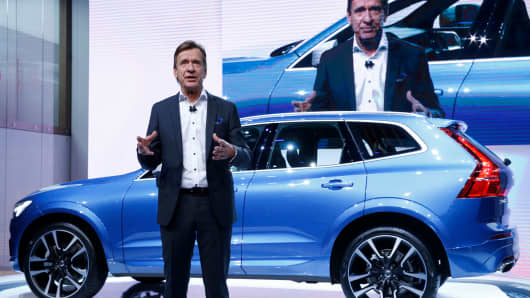 Vovlo CEO Hakan Samuelsson speaks during presentation of the new Volvo XC60 car during the 87th International Motor Show at Palexpo in Geneva, Switzerland, March 7, 2017.