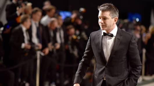 Co-founder of Uber Travis Kalanick attends an Oscar party on February 26, 2017 in Beverly Hills, California.
