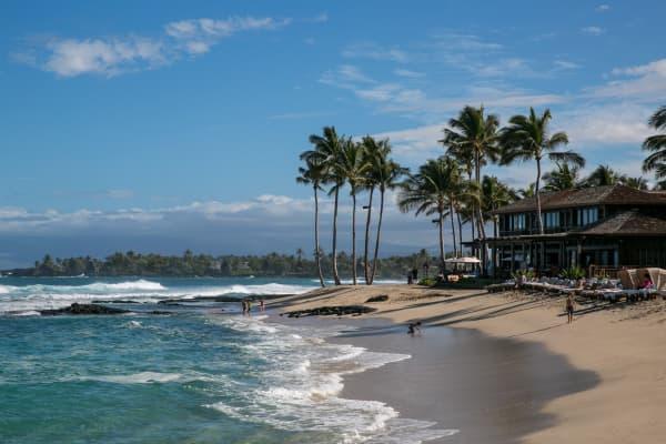 A beach at the Four Seasons Hotel Hualalai along the Kona Kohala Coast on Hawaii's Big Island.