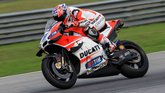 Casey Stoner of Ducati Racing Team in action in Sepang, Malaysia.