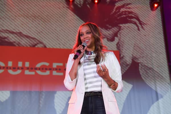 Tyra Banks speaks at Morehouse College in Atlanta, Georgia.