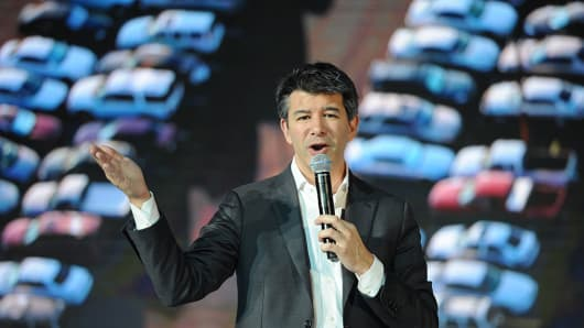 Uber CEO Travis Kalanick delivers a speech at the Third Netease Future Technology Conference on June 28, 2016 in Beijing, China.