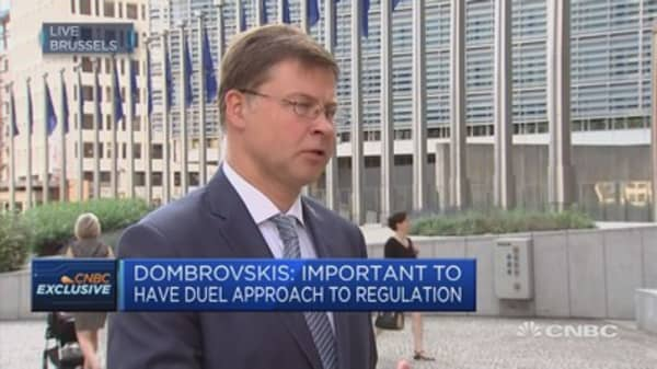 EU passporting rights linked to single market: EC's Dombrovskis