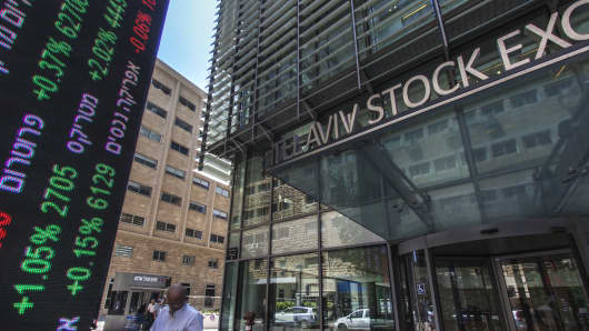 A large digital ticker shows financial information outside the entrance to the Tel Aviv Stock Exchange (TASE) in Tel Aviv, Israel on August 4, 2016.
