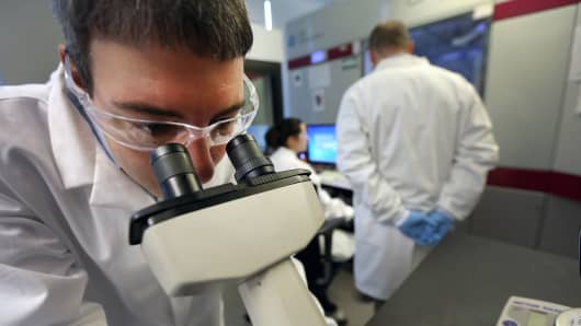 A technician at the Novartis Institutes for BioMedical Research in Cambridge, Massachusetts.