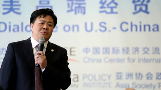 "Member of the Chinese delegation Xiao Weiming answers a question during ""China and the U.S.: One Belt, One Road and 100-Day Plan,"" a discussion hosting high-level delegation of Chinese leaders, in New York, June 14, 2017."