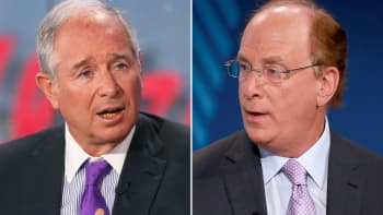 Steve Schwarzman, CEO of Blackstone (L) and Larry Fink, CEO of BlackRock (R).