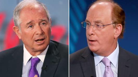 Steve Schwarzman, CEO of Blackstone (L) and Larry Fink, CEO of BlackRock (R).