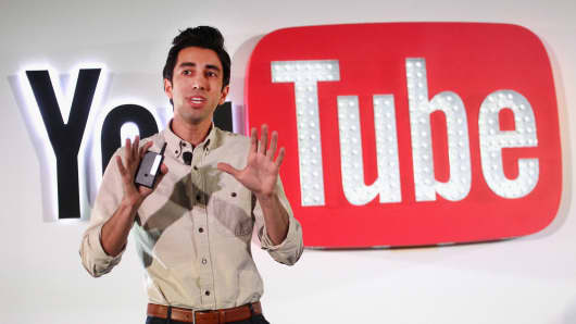 Googler, Writer and Cartoonist Jonathon Youshaei speaks at the YouTube @ VidCon Brand Lounge at Anaheim Convention Center on June 22, 2017 in Anaheim, California.