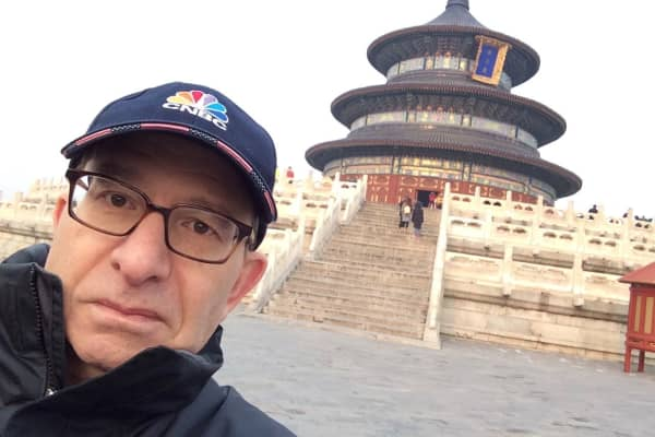 CNBC producer James Segelstein in front of the Temple of Heaven in Beijing, China.