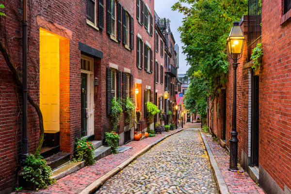 Acorn Street in Boston, Massachusetts.