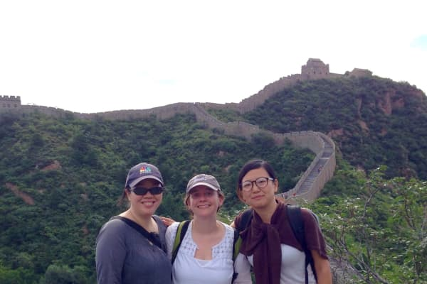 CNBC producers (from left) Kathy Liu, Christie Gripenburg and Daisy Li Cherry at the Great Wall, outside of Beijing, China.