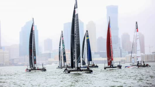 Team catamarans sail during practice ahead of the Louis Vuitton America's Cup World Series races in New York.