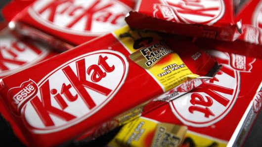 Bars of original KitKat chocolate, produced by Nestle SA.