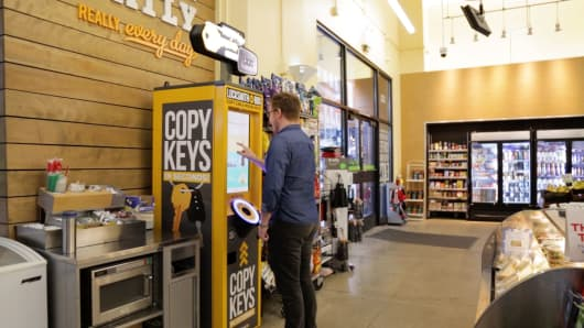 Key copying kiosks from start-up KeyMe are available in stores across the US, including 7-Eleven, which was its first big retail partnership.