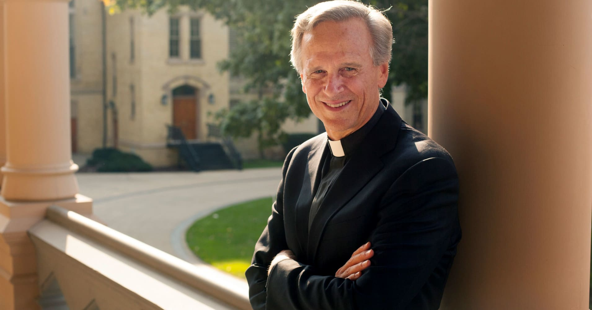 The Rev. John Jenkins, president of the University of Notre Dame, on campus in South Bend, Ind., Sept. 8, 2015.
