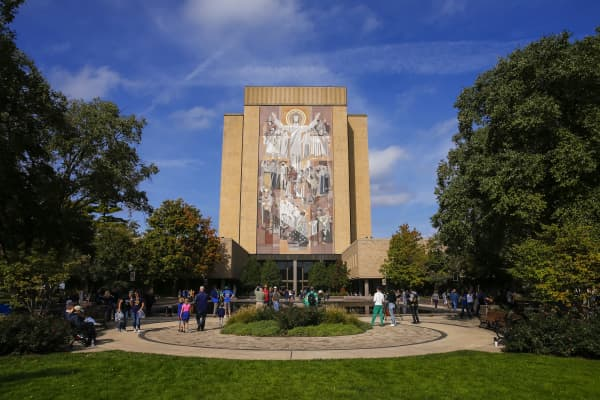 Hesburgh Library at Notre Dame in South Bend, Indiana.
