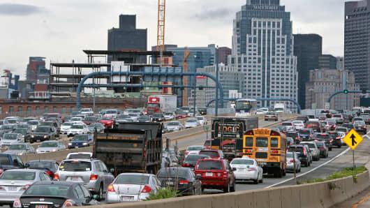 Heavy traffic on a Thursday in Boston, Massachusetts.