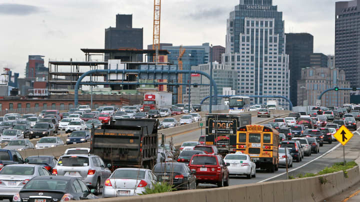 Heavy traffic on a Thursday in Boston, Massachusetts.
