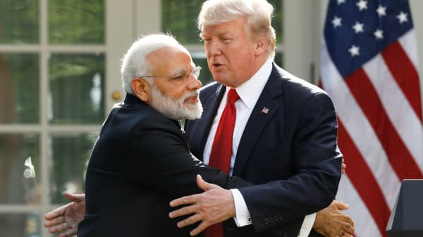 India's Prime Minister Narendra Modi hugs U.S. President Donald Trump as they give joint statements in the Rose Garden of the White House in Washington, June 26, 2017.
