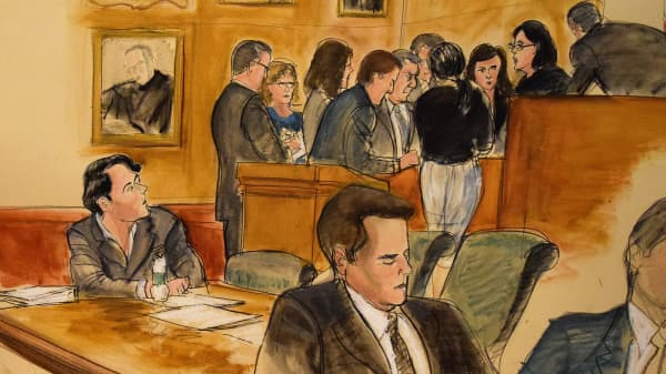 A courtroom sketch of jury selection for Martin Shkreli took place in the Brooklyn Federal Court Ceremonial Courtroom on June 26th, 2017.