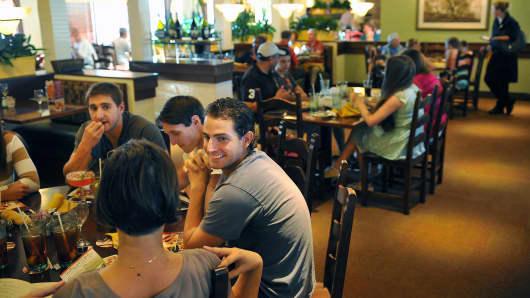 Millennials dining at Olive Garden in Washington, D.C.