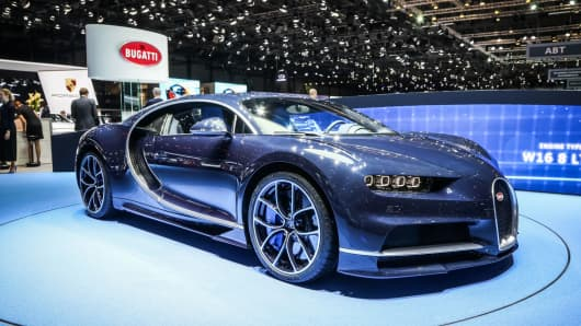 The Bugatti Chiron on display at the Geneva Motor Show 2017 on March 8, 2017 in Geneva, Switzerland.